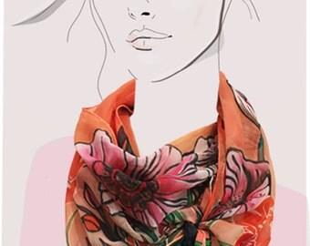 Peach Poppies - hand painted silk chiffon scarf