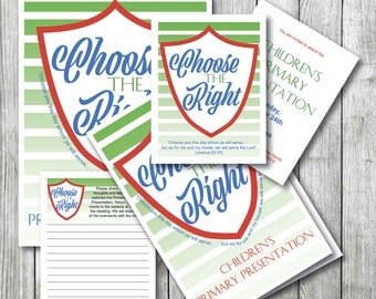 2017 LDS Primary Program Cover, Comment Cards Insert, Invitation, download, Choose the Right