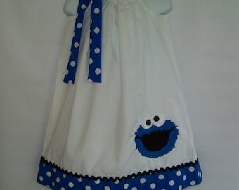 Cookie Monster Pillowcase Dress / 123 Sesame Street / Newborn / Blue / Infant / Baby / Girl / Toddler / Birthday / Custom Boutique Clothing