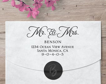 Mr and Mrs Return Address Stamp, Address Stamp, Custom Stamp, Wedding Stamp, Custom Gifts, Calligraphy Stamp, Mr and Mrs, Mr and Mrs Stamp
