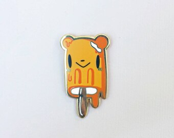 Creamsicle Bear Summer Fun Popsicle / Ice Cream Hard Enamel Lapel Pin - Unique Cute Kawaii Gift