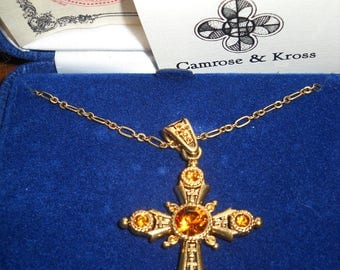 Jackie Kennedy 24K GP Cross Necklace - Westminster Cross with Stones, Box and Certificate