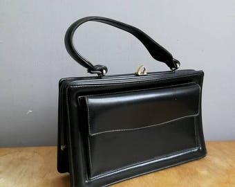 Black retro top handle purse / mod black purse / small rectangle hand held purse / 60s 70s purse / evening bag