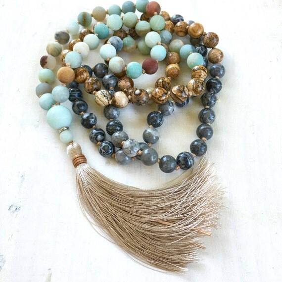 Amazonite And Jasper Mala Beads, Knotted 108 Bead Mala, Healing Mala Beads, Original Mala Necklace, Designer Gemstone Mala, Yoga Beads