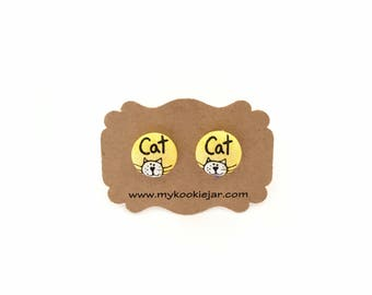Cat Earrings, Cat Fabric Button Earrings, Cat Stud Earrings, Cat Lover Earrings, Cat Lover Gift, Cute Monochrome Cat Earrings, Nickel-free