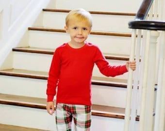 Applique Christmas Pajamas - Children Christmas PJ - Christmas plaid Pajamas - Monogram Holiday Pajamas - Family PJ Sets - Monogram Pjs