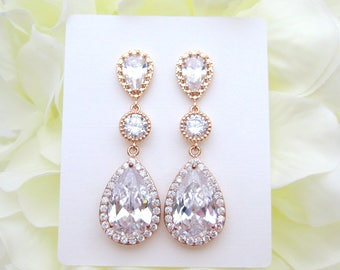 Rose Gold Wedding Earrings Bridal Clear Crystal Earrings Lux Cubic Zirconia Teardrop Earrings Bridesmaids Gift Long Bridal Earrings (E006)