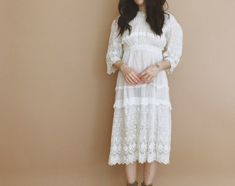 antique edwardian lace tea dress // xs wedding dress // boho wedding dress