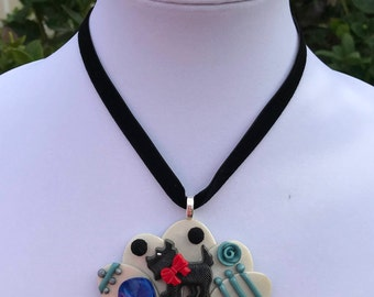Scottie Dog Necklace // 40s Necklace // Pom Pom Pendant // Turquoise Roses and Blue Celluloid // Ribbon Necklace // Retro Pendant