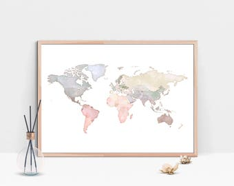 WATERCOLOR MAP Of The World PRINTABLE Large Blue Beige Map Print