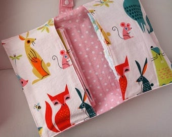 Cute animal pattern  Diaper clutch set , Changing Pad  ,Travel Changing Pad, Double-sided 100% Cotton