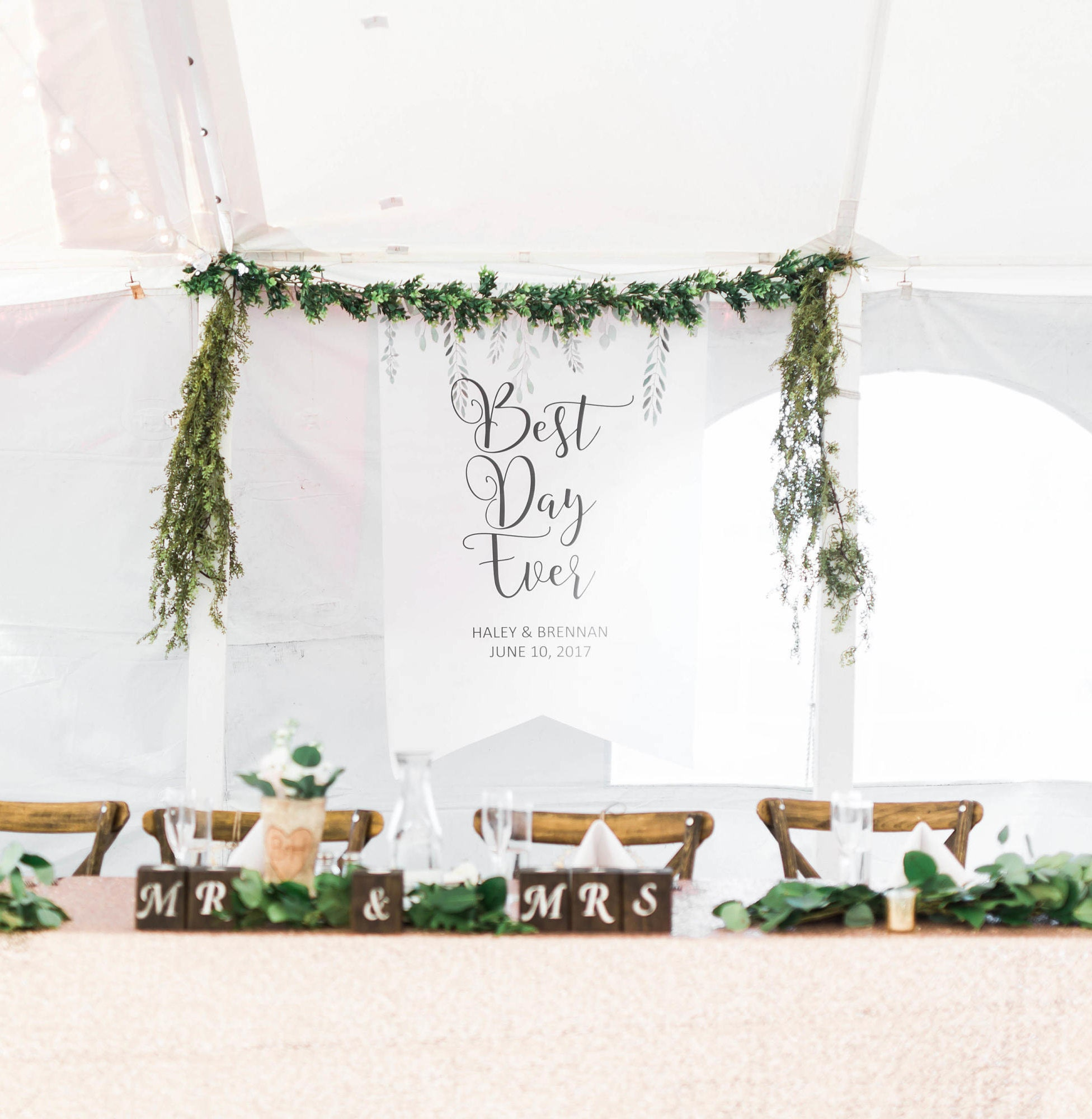 Wedding Backdrop Sign Banner Decor Personalized Names Hanging