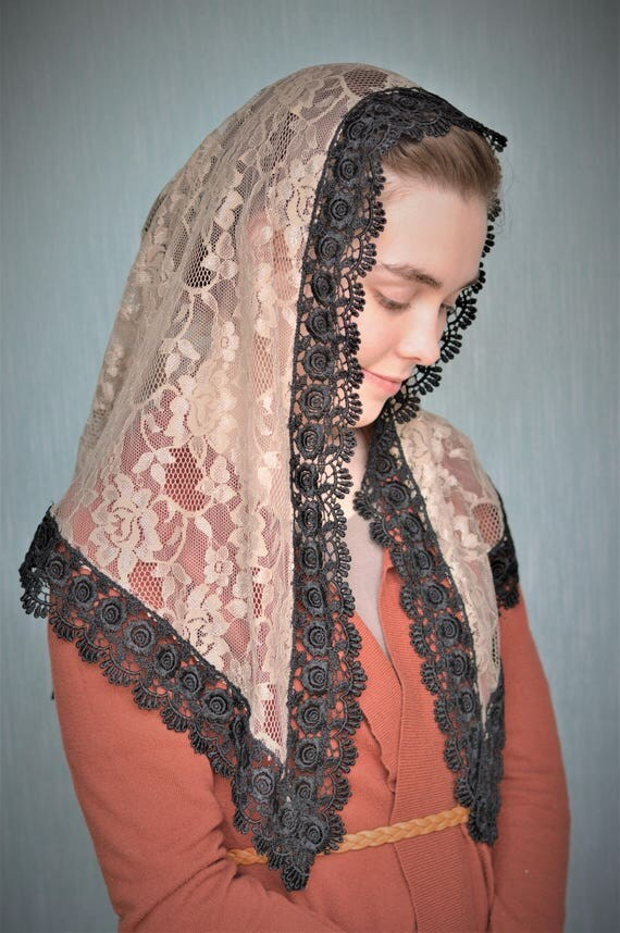 Traditional Catholic Tan Chapel Veil |  Catholic Mantilla Veil for Mass Veil Robin Nest Lane Tan Veil Tan Chapel Veil Catholic Chapel Veil