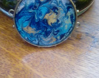 Large hand painted hob nail pendant