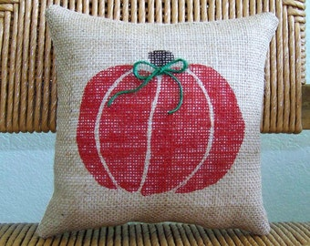Fall decor, Pumpkin pillow, burlap pillow, Fall pillow, Halloween decor, Thanksgiving decor, FREE SHIPPING!