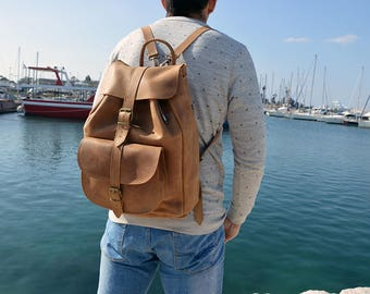 Men's Backpack, Brown Leather Backpack Men, Travelbag, Made in Greece from Full Grain Leather, EXTRA LARGE.