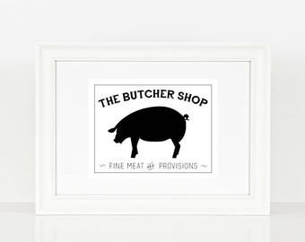 The Butcher Shop Pig Print  | Kitchen Print | Kitchen Art | Farm House | Pig | Digital Print | Print | Wall Art