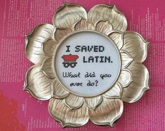 """Rushmore Framed Cross-Stitch """"I Saved Latin"""" Handmade 4""""x4"""" - Donation to Alliance for Climate Education"""