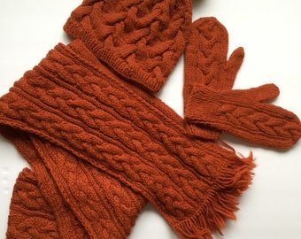 Hand Knit Matching Orange Set, Braided Bable Hat Scarf and Gloves, Real Fur Pom Pom, 100% Wool