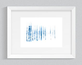 Blue abstract brush strokes print, DIGITAL DOWNLOAD of a watercolor painting, modern printable wall art, instant download, brush strokes