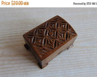 20% SALE Vintage Hand Carved Wooden Jewellery Box, Wooden Chest for jewelry,
