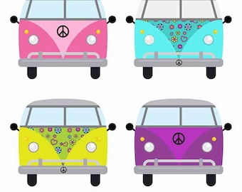 Digital Clip Art Hippie Peace and Love SUV Van Bus Peace