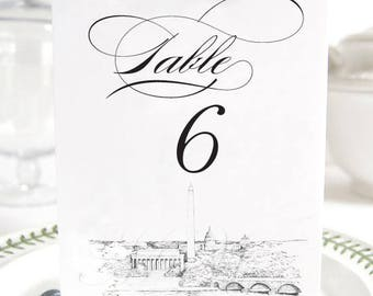 Washington, D.C. Memorials Skyline Table Numbers, Wedding Tables (1-10)