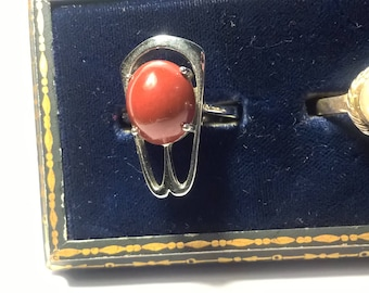 Red Agate  Sterling Silver Ring Size 7