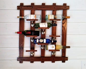 Wall Wine Rack, Holds 8 bottles, Oak
