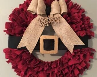 Santa Wreath, Believe, Christmas Wreath, Santa Clause Wreath, Santa Clause, Red, Black, Burlap