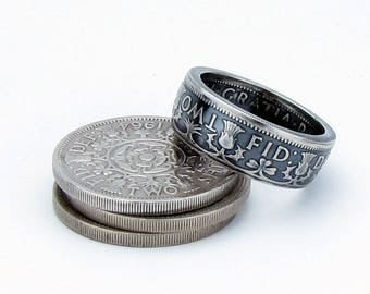 Two Shilling United Kingdom British Elizabeth II Coin Ring, Unique Ring, Coin Jewelry, Mens, Band, Mans, Rings