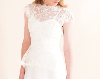 ECHO TOP a long line lace overlay top made from ivory corded lace and trims
