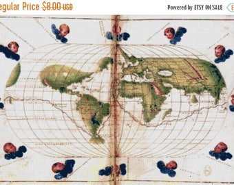 Universal Mercator projection map Cross Stitch Pattern Pdf kreuzstitch korss - 386 x 264 stitches - INSTANT Download - B1129