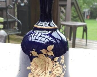 Vintage Bareuther Cobalt 22kt Gold Rose Bell Collectible Waldsassen Bavaria Germany