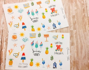 25 Summer Vibes Planner Stickers, Summer Stickers.
