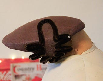 1950's Brown Velvet Accented Hat