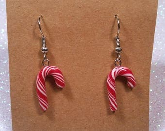 Candy cane earrings polymer clay