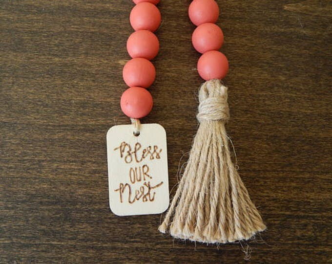 Featured listing image: Watermelon red wood bead garland with tag and jute tassel, home jewelry, rustic bead garland, farmhouse beads, bless our nest bead garland