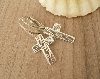 Cross Earrings in Sterling Silver,  Dangle Earrings with Cross, Gold Cross Earrings, Boho Earrings, 925 silver jewelry