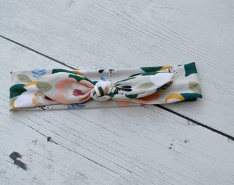 Tan Floral Knot Headband Baby Toddler Youth