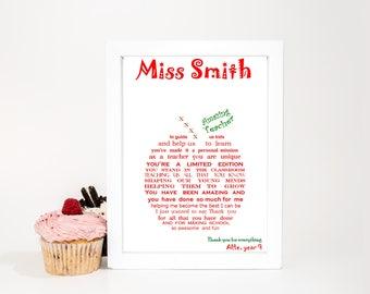 Teacher Appreciation Gifts, Gift for Teachers, Personalized Teacher Gift, Teacher Appreciation Gift, DIGITAL print, Thank you Teacher