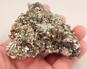 Dozens of PERFECT! 100%Natural Rhombic PYRITE Crystals in a Cluster Peru 454gr