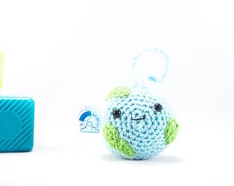 Crochet world, world car hanger, car mirror hanger, travel accessory, travel, back packer, accessory, camper van accessory, car accessory