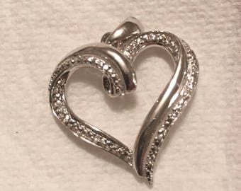 Silver Heart Pendant with Pave Diamonds