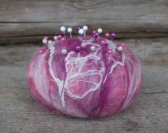 Felted Pin Cushion, Felted Wool Pincushion with Pins, Modern Felt Pin Cushion, Wool Pincushion