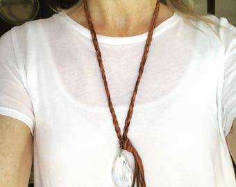 Braided leather necklace // tassel necklace //  crystal pendant necklace