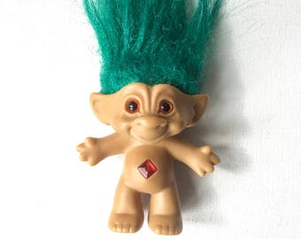 Vintage Ace Novelty Troll, 3 inch Jewel Belly Troll Doll, Naked, Green Hair, Amber Eyes, 1990s, 01455
