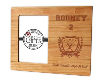 Personalized Baseball photo frame/Hardwood walnut/cherry/maple engraved picture frame, personalized picture frame