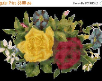 "Victorian flower bouquet counted cross Stitch pattern  modern cross stitch needlepoint, needlecraft - 8,57"" x 5,64""  - L1397"