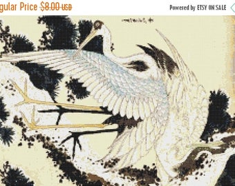 "Hokusai ibis Counted Cross Stitch Pattern PDF  needlepoint needlework blossom of floreal by  Hokusai - 17.71"" x 11.79"" - L1532"